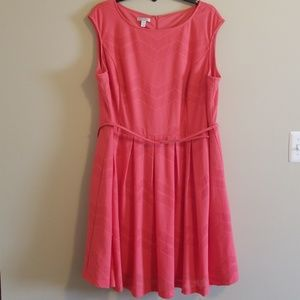 Coral Dress with Belt with gold detail